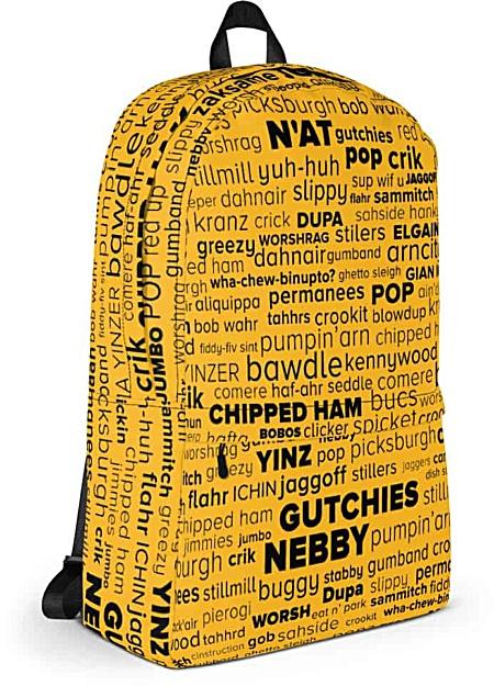 Pittsburgh language Pittsburghese Backpack - word cloud yinz steelers
