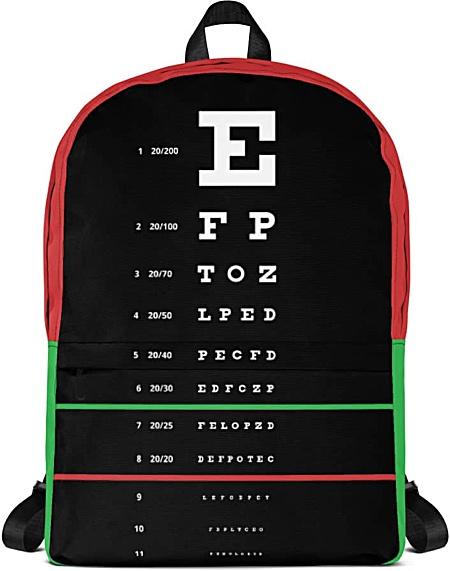 Eye Doctor Vision Specialist Snellen Eye Chart Backpack