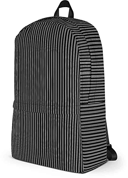 Classic Black Pinstripe Backpack - Designer Bags