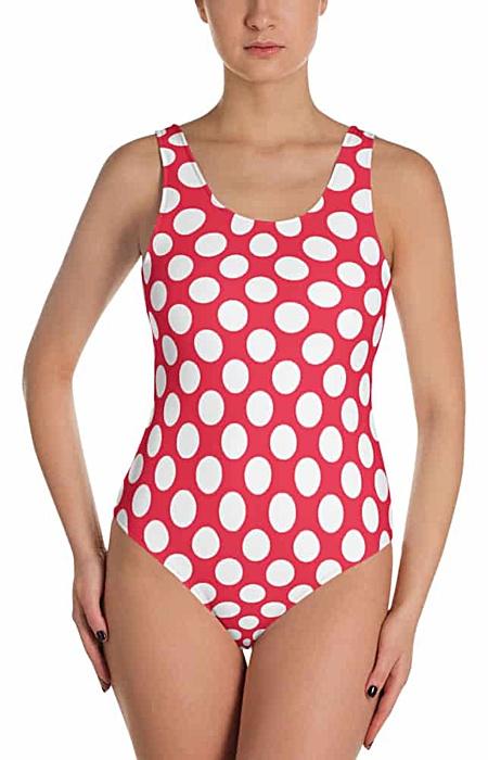 Classic polka dot bathing swim suit one piece