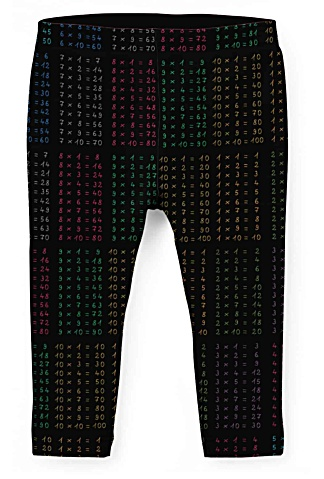 Kids Times tables multiplication math leggings for children - capri cropped & full length