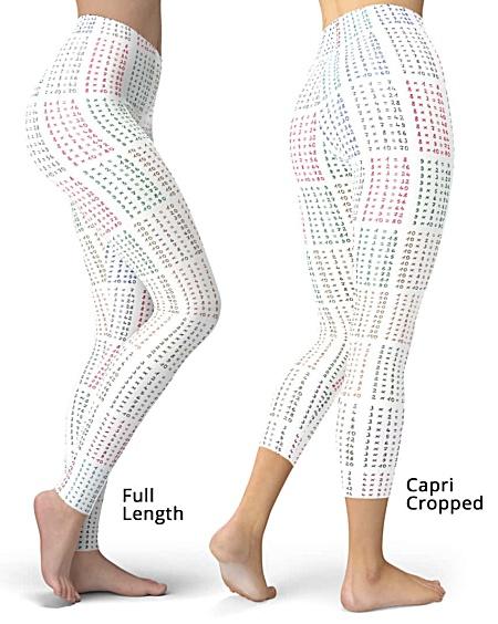 Times tables multiplication math leggings - capri cropped & full length