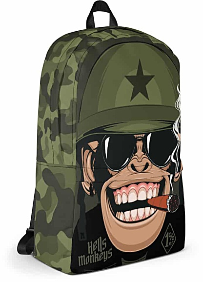military camouflage biker monkey backpack - chimp bag