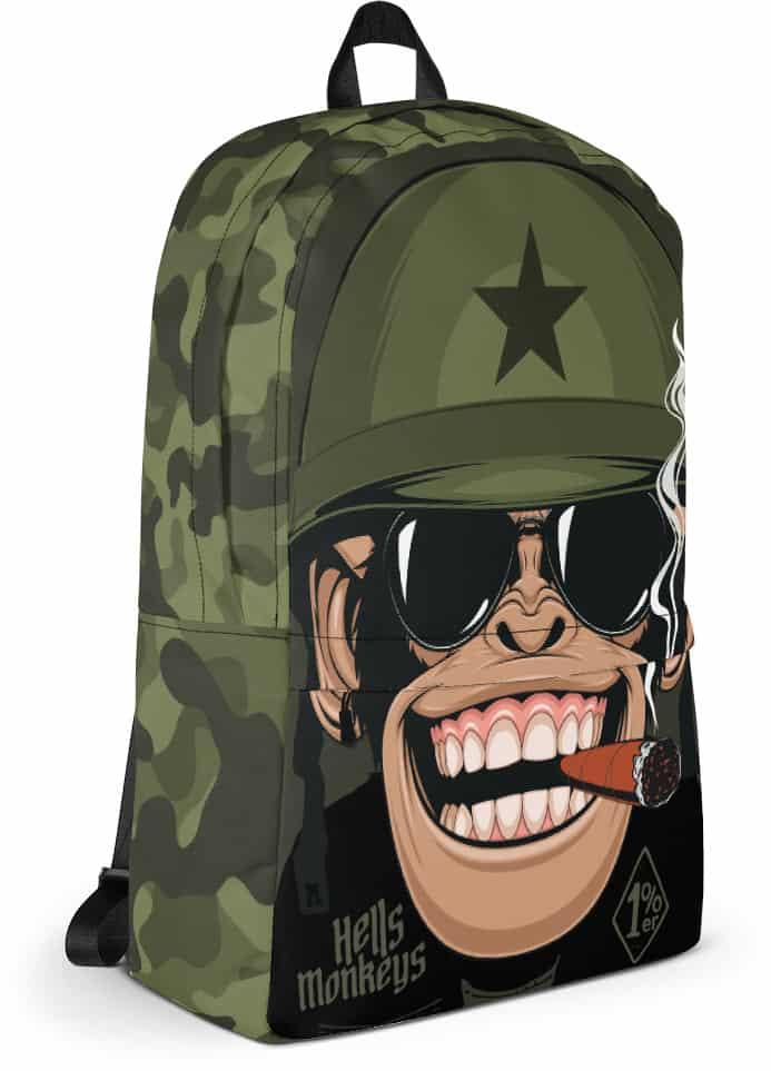 military camouflage biker monkey backpack - chimp bag