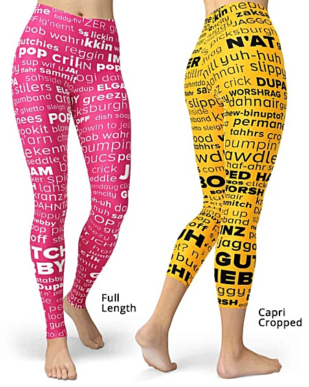 Pittsburgh language Pittsburghese leggings - word cloud yinz steelers
