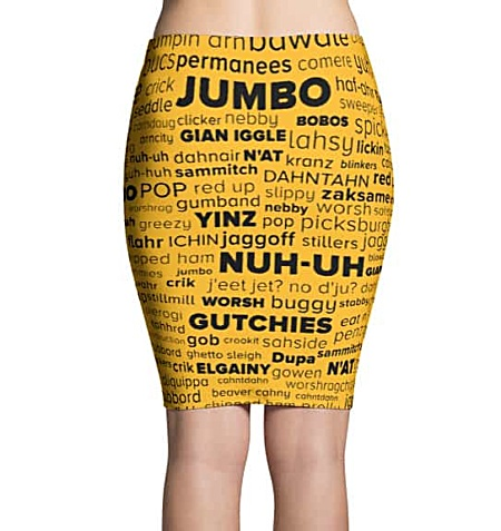 Pittsburgh language Pittsburghese skirt - word cloud yinz steelers mini skirt