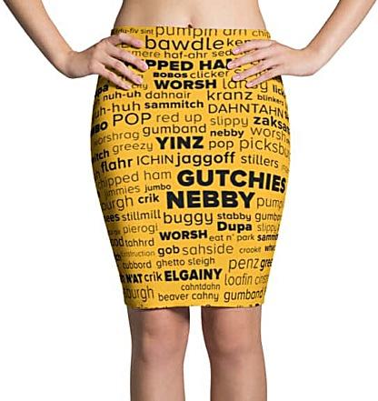 Pittsburgh language Pittsburghese skirt - word cloud yinz steelers mini skirt