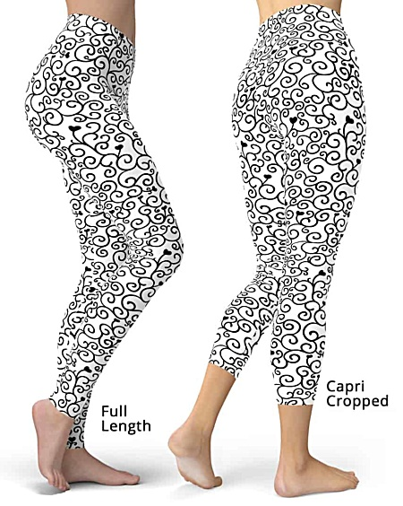 Romantic Sweetheart Vine & Hearts Valentine Leggings