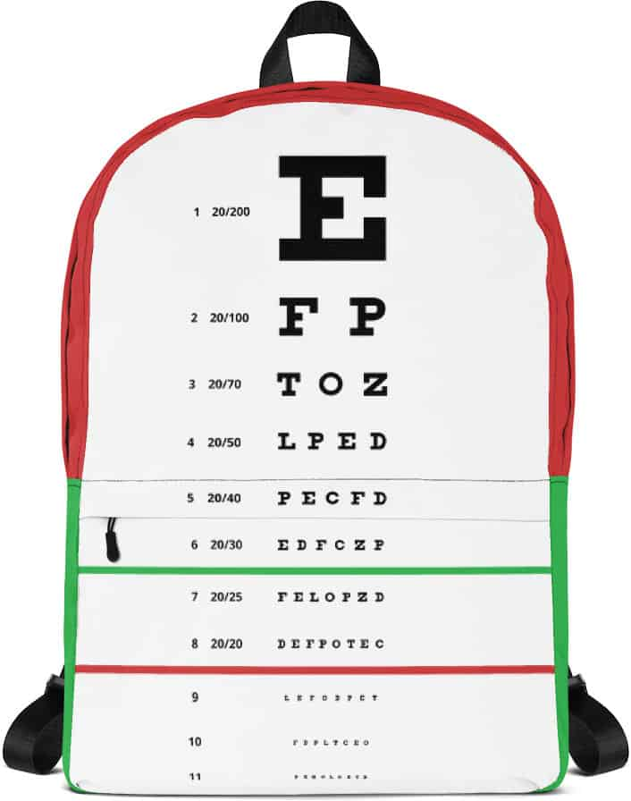 Snellen Eye Chart Backpack Designed By Squeaky Chimp Tshirts