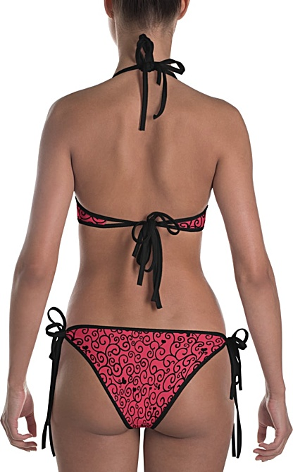Romantic Vine & Hearts Valentine Reversable Bikini Bathing Suit