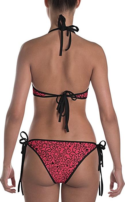 Romantic Vine & Hearts Valentine Reversable Bikini Bathing Suit