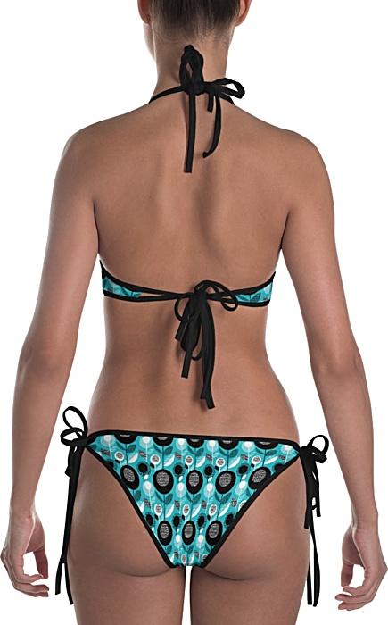 black swimsuit - Blue Green floral retro bikini reversible flower bathing suit