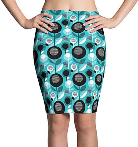 Blue flower retro mini skirt or pencil skirt