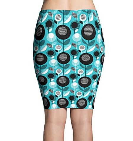 Blue flower retro mini skirt or pencil skirt