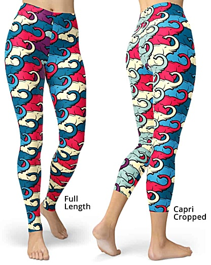 Colorful Elephant Trunk Leggings, Elephants legging