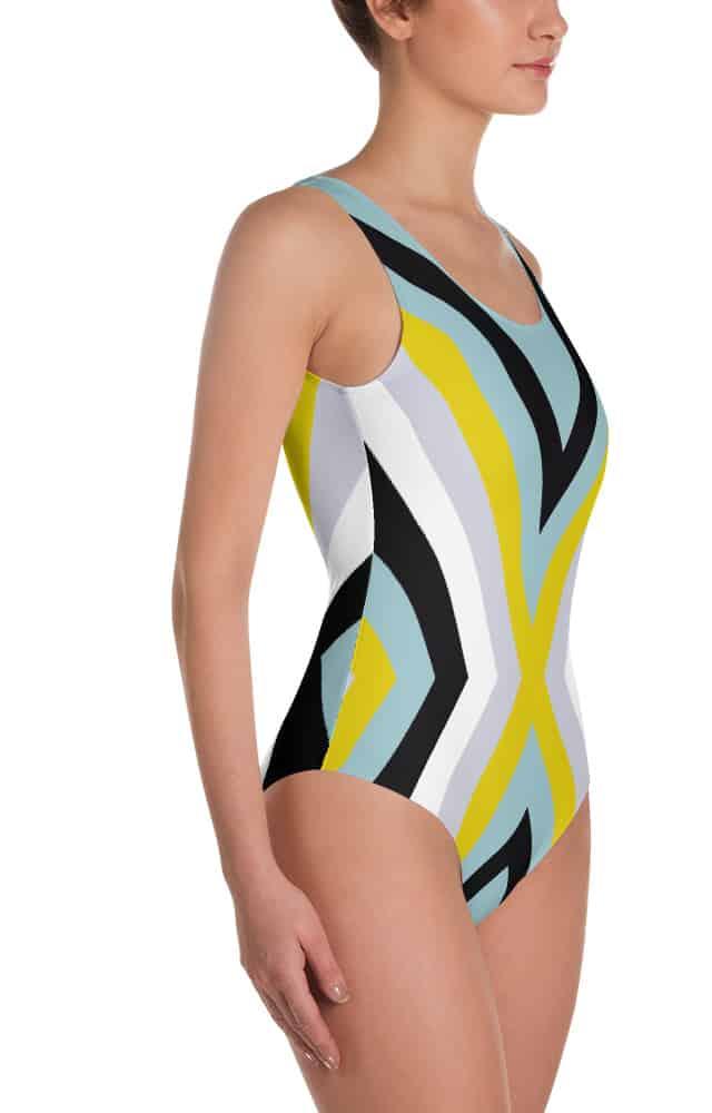 Cool colors bathing suit - one piece swimsuit - X stripe design