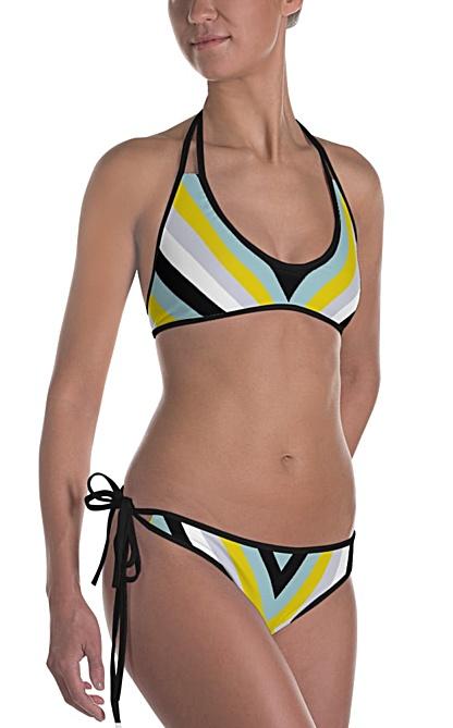 Cool colors bathing suit - bikini swimsuit - X stripe design