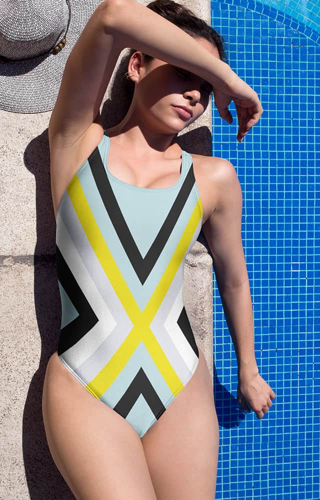Cool colors bathing suit - one piece swimsuit - X stripe design