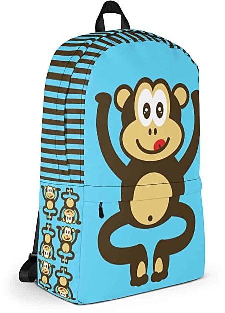 Blue monkey backpack - chimpanzee laptop bag - tablet case