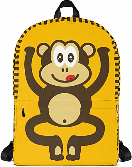 Gold monkey backpack - chimpanzee laptop bag - tablet case