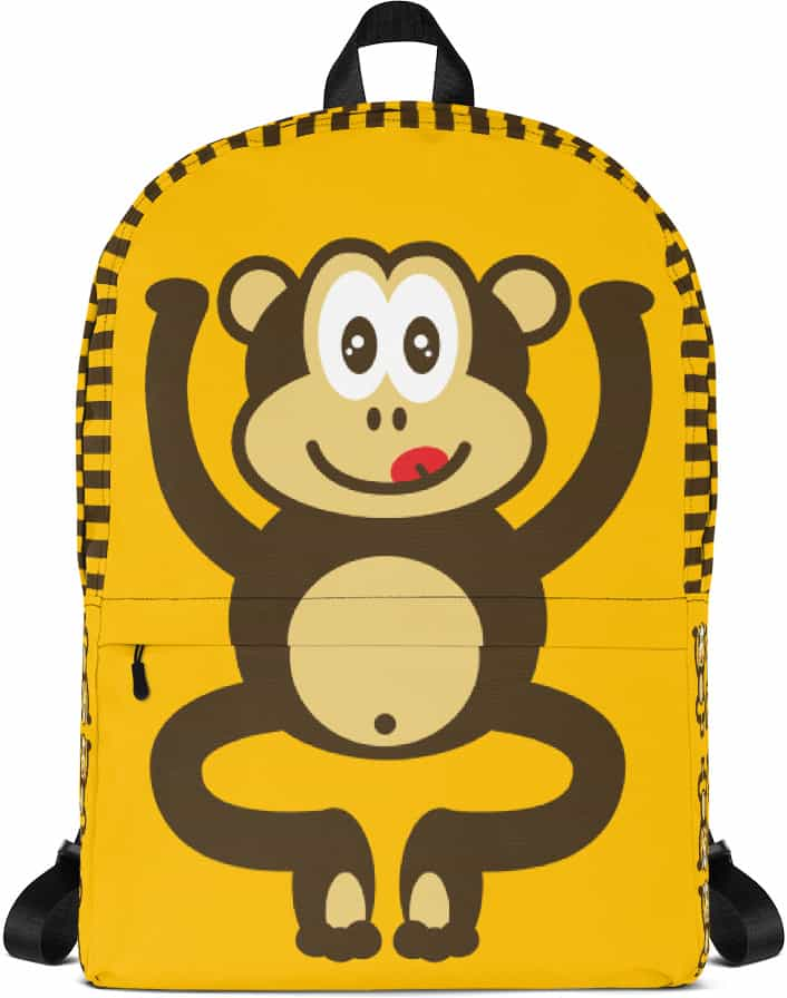 Gold monkey backpack - chimpanzee laptop bag - tablet case