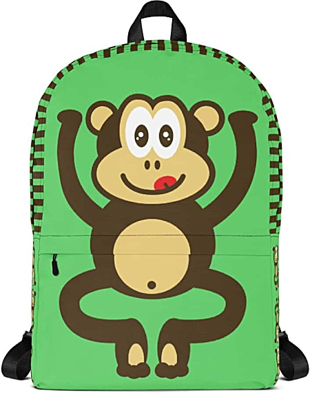 Green monkey backpack - chimpanzee laptop bag - tablet case