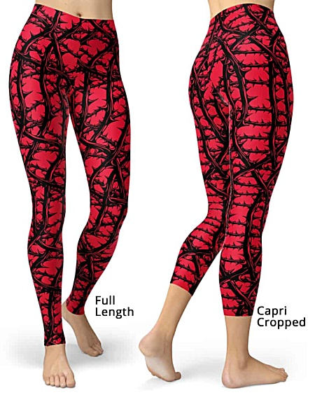 Red Gothic Leggings - Vine with thorns legging