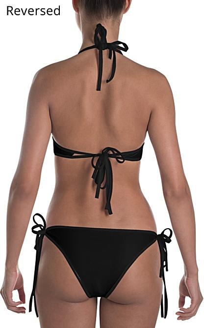 Black bikini reversible bathing suit