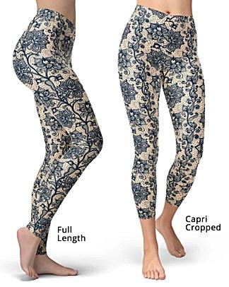 Skin tone blue lace leggings