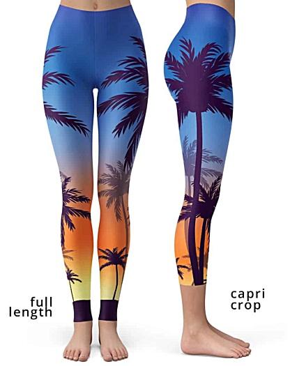 Sunset Sunrise Palm Tree Leggings trees pants