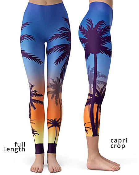 Sunset Sunrise Palm Tree Leggings trees pants