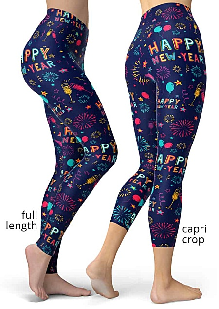 New Years Leggings Fireworks Confetti toast