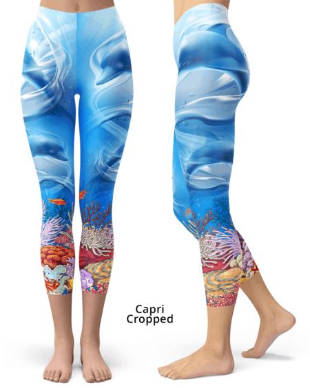 Ocean floor underwater dolphin leggings