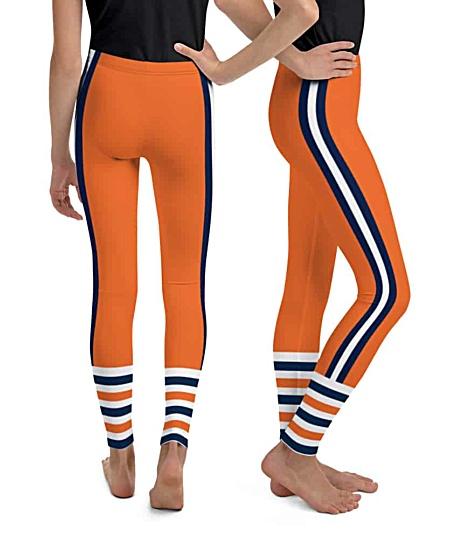 Children child kid kids teen sizes Chicago Bears uniform leggings NFL Football pants blue orange
