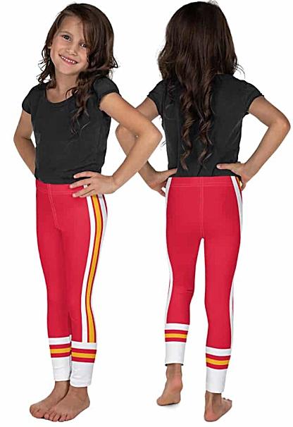 Children child kid kids teen sizes Kansas City Chiefs uniform leggings NFL Football pants red orange
