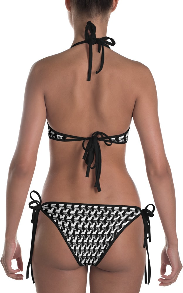 Isometric Striped 3D bikini black and white two piece bathing suit swimsuit
