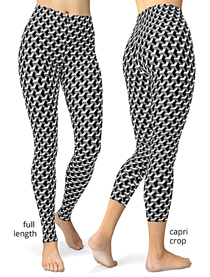 black and white Isometric Striped 3D Leggings