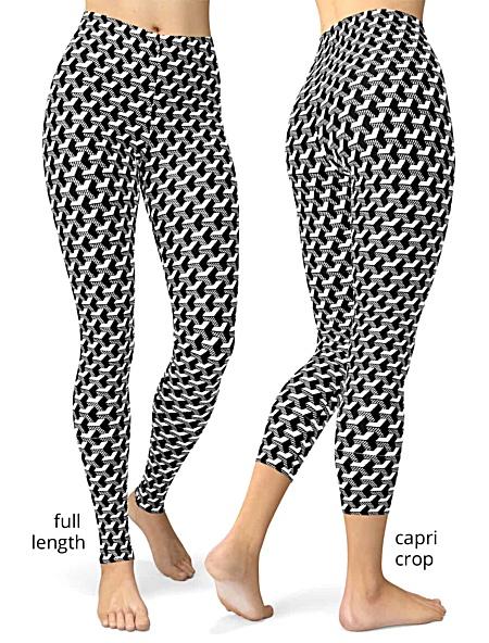 black and white Isometric Striped 3D Leggings