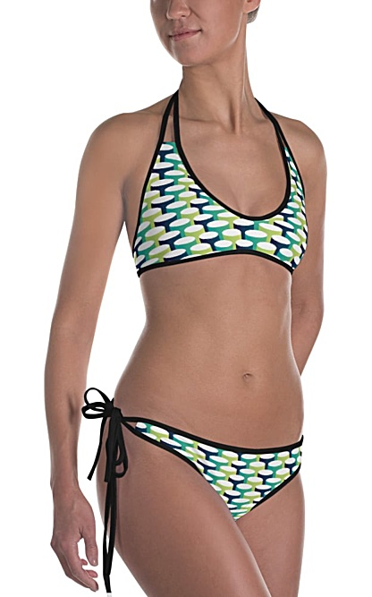 3d tube blue green bikini swim suit bathing suit beach