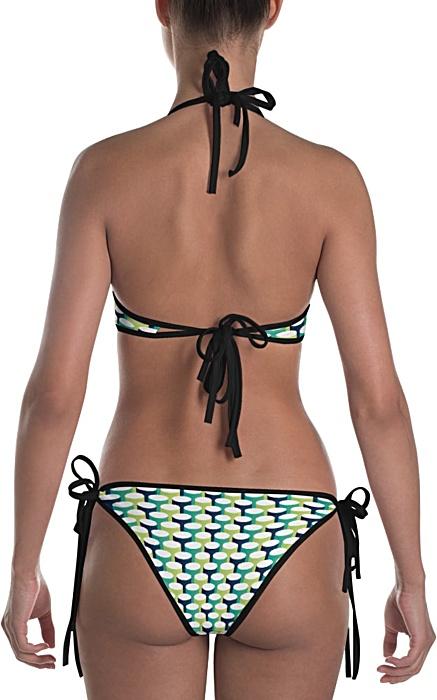 3d tube blue green bikini swim suit bathing suit