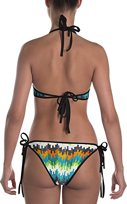 blue orange abstract bikini two piece bathing suit swimsuit