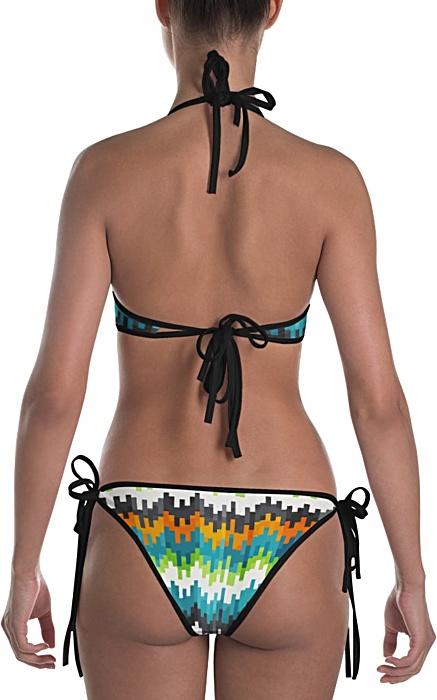 blue orange abstract bikini two piece bathing suit swimsuit