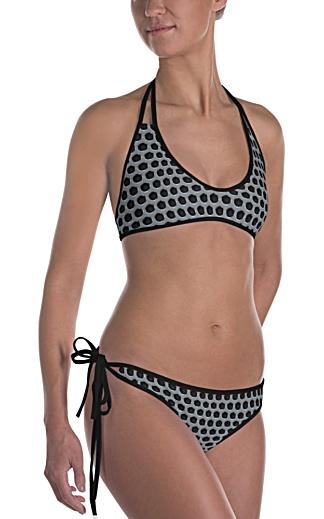 metal metallic silver platinum grill rock and roll bikini two piece bathing suit swimsuit