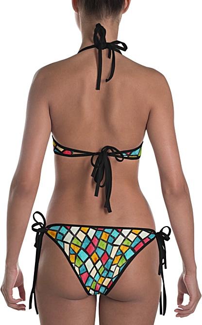 colorful color mosaic mosiac tile tiles designer bikini two piece bathing suit swimsuit