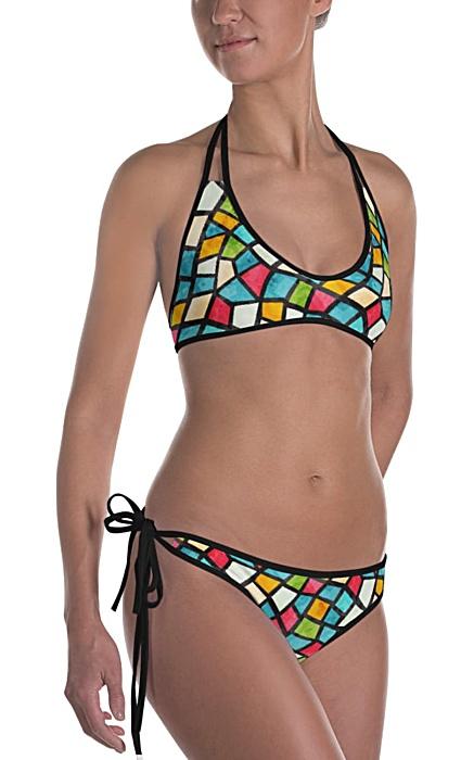 olorful color mosaic mosiac tile tiles designer bikini two piece bathing suit swimsuit