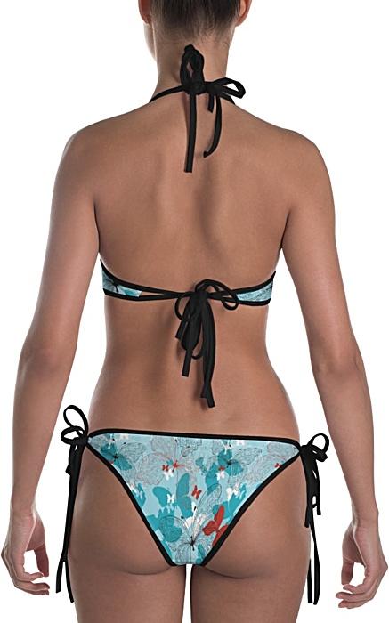 Blue butterfly two piece bathing suit bikini swimsuit designer