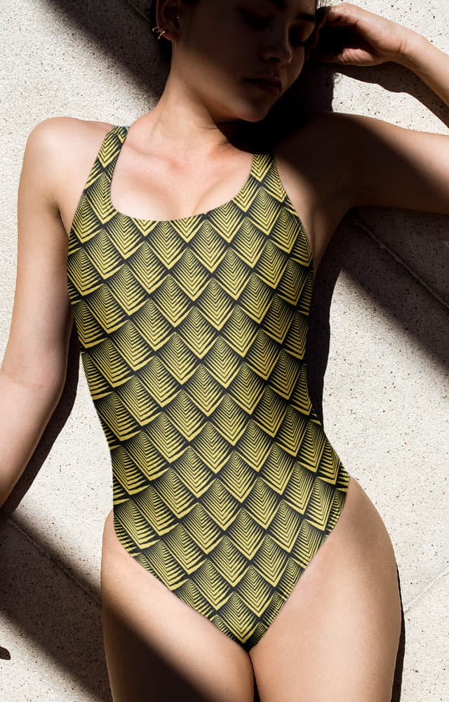 art deco designer gold one piece bathing suit swim suit