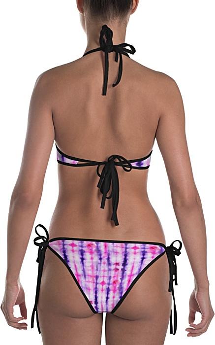 Retropink purple Hippy 60s tie dye bikini reversible bathing suit swimsuit two piece