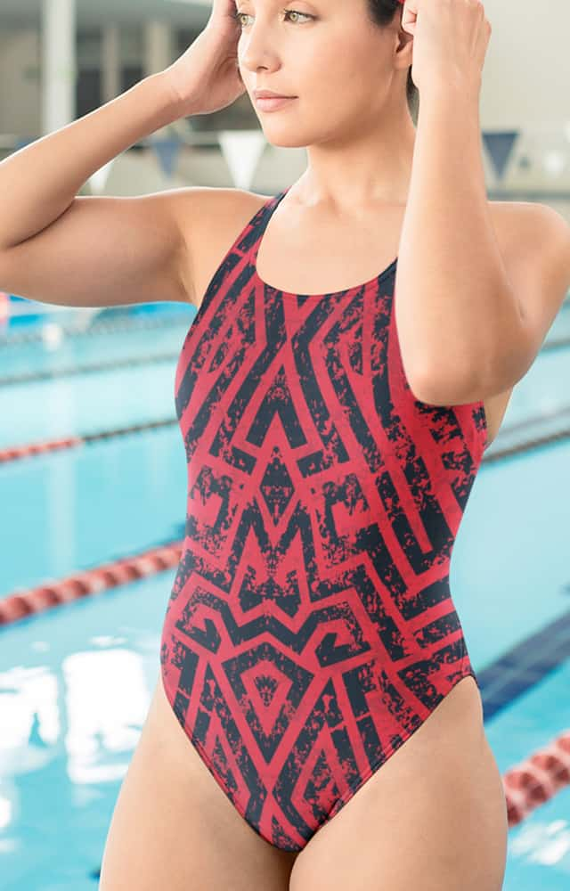 industrial maze pink one piece bathing suit swim suit