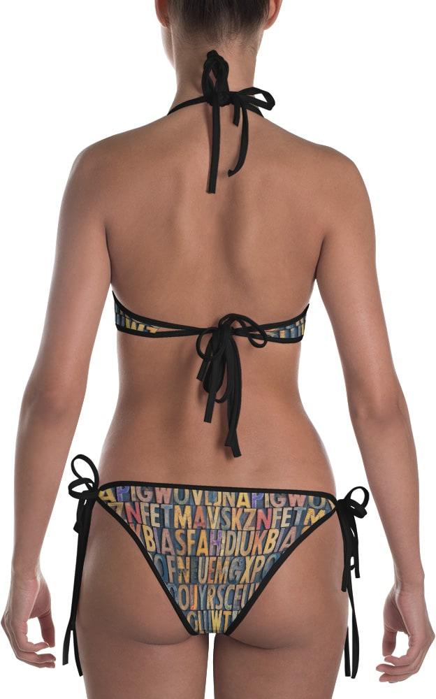 antique typeset lettering letters letterpress print printer design graphic bikini reversible bathing suit two piece swimsuit swimming